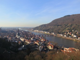 View of the old town and the old bridge over the Neckar River