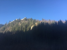 The ruins of Ehrenberg Castle in Reutte, Austria, seen from the B179.