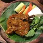 Bebek Bejeg (fried duck with spicy sauce)