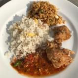 Nasi uduk (coconut milk rice), nasi goreng (fried rice) and crispy fried chicken